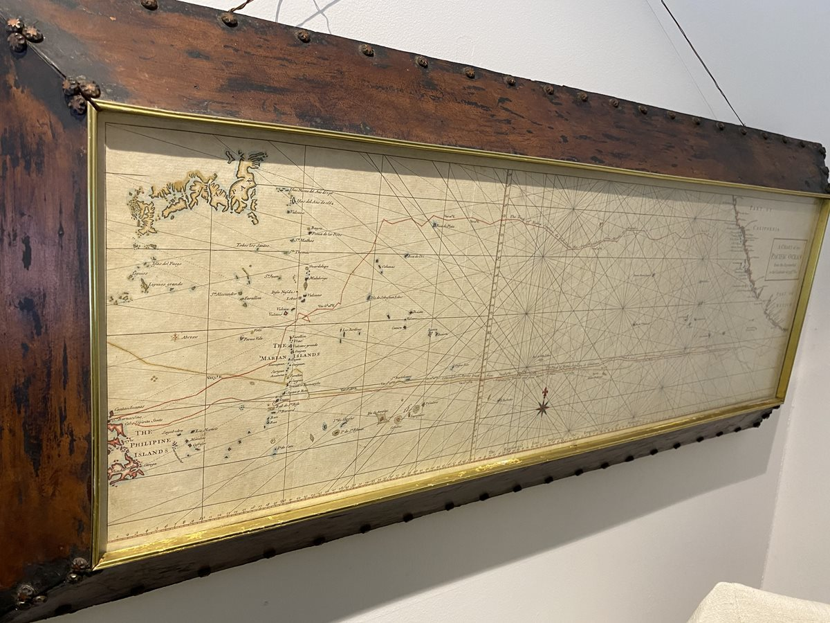 Old Framed Chart of the Pacific Ocean