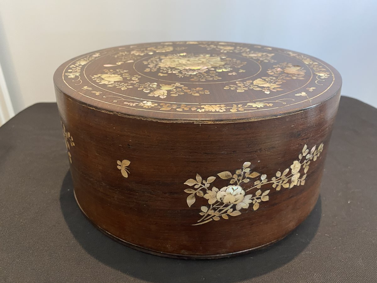 Antique Vietnamese Wooden Sewing Box with Mother of Pearl inlay