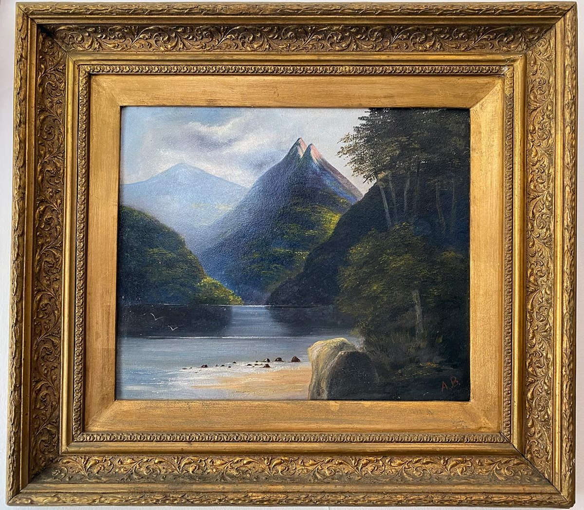 Mountains and Lake Oil Painting
