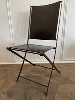 Designer folding metal & leather chair