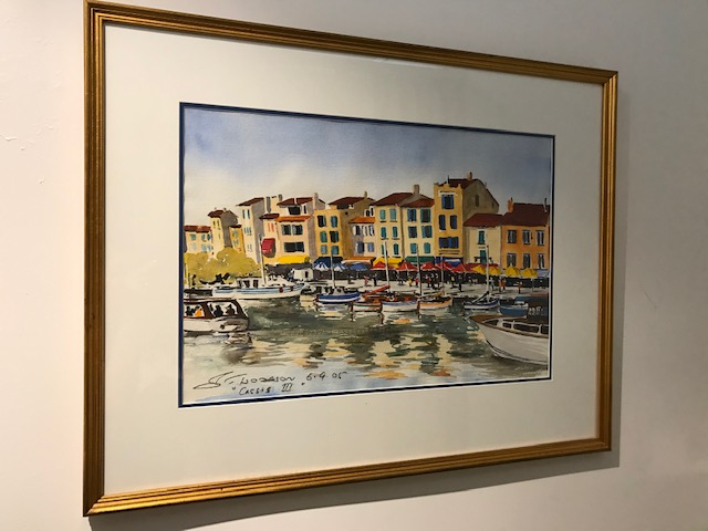 Watercolour of French seaside town of Cassis
