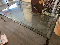 Large Cast Iron and Glass Coffee Table